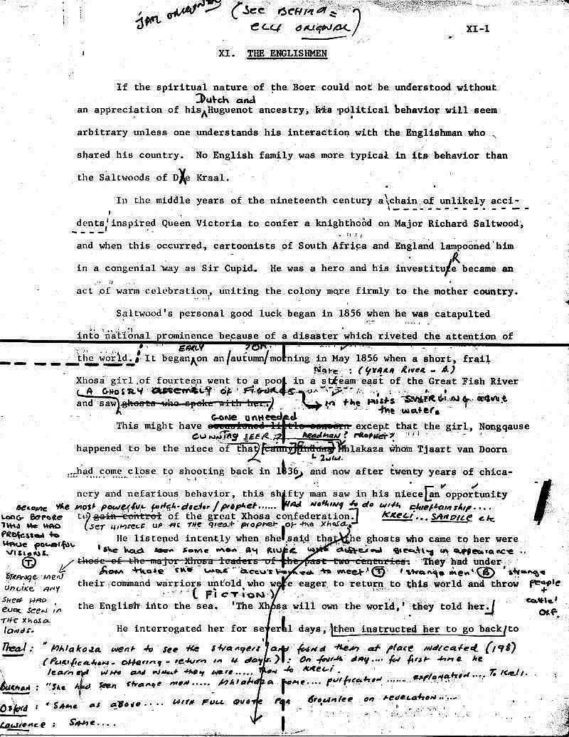 James A. Michener manuscript for The Covenant - Nongquase draft edited  by Uys 1