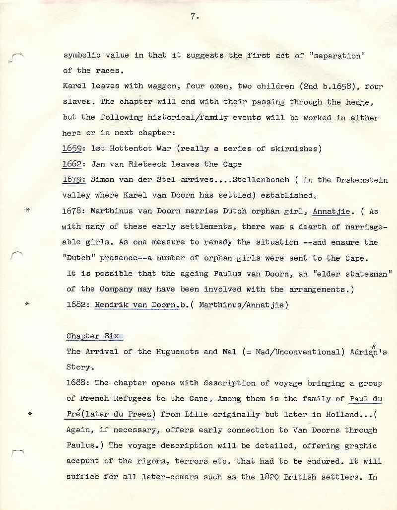 Example page 1 Page from Outline for Michener novel, The Covenant