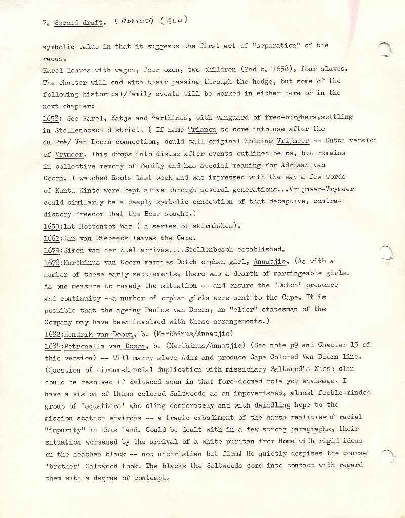Page 7, second draft, from Errol Lincoln Uys outline for Michener novel, The Covenant