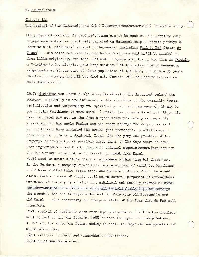 Page 8, second draft, from Errol Lincoln Uys outline for Michener novel, The Covenant