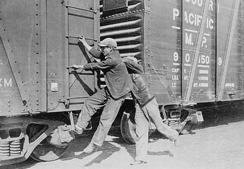 Teenagers Hopping a Freight Train in the Great Depression
