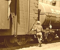 Boy Hopping Freight Train in Great Depression