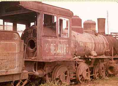 Abandoned locomotive on the Madeira Mamore Railroad in Brazil