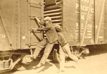 Hopping a Freight Train in Great Depression